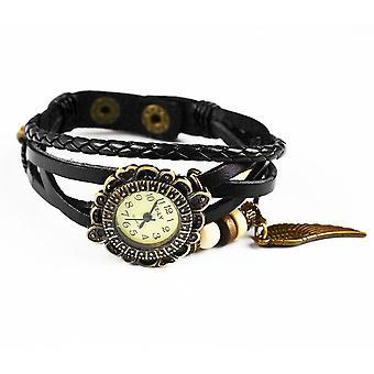 Boolavard® TM Flügel Quarz Mode weben Wrap-around-Leder-Armband-Frauen-Armbanduhr