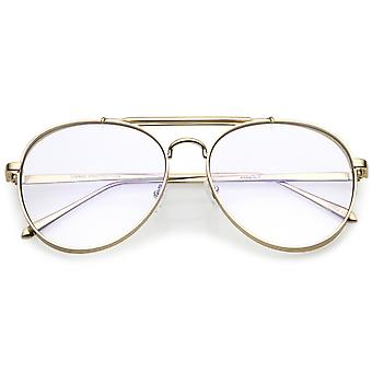 Oversize Metal Aviator Eyeglasses With Triple Crossbar Side Cover Clear Flat Lens 60mm