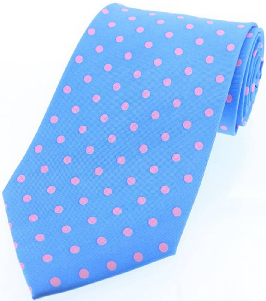 David Van Hagen Polka Dot Silk Twill Tie  - Blue/Pink