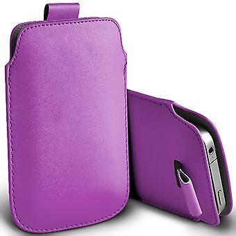 Microsoft Lumia 950 XL Slip In Pull Tab Faux Leather Pouch Case Cover (Purple)