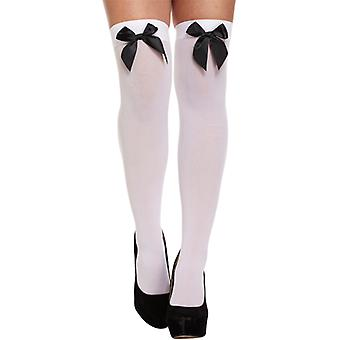 Halloween White Hold Up Stockings With Black Bow Fancy Dress Accessory