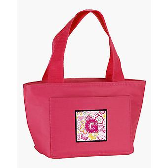 Letter G Flowers and Butterflies Pink Lunch Bag