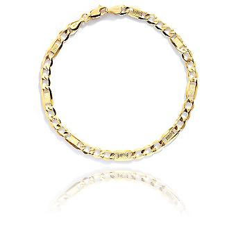 10k Yellow Gold Hollow Bar Figaro Chain Bracelet and Anklet , 5mm