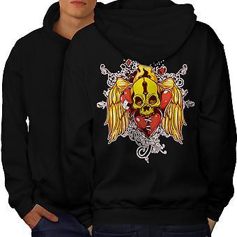 Heart Angel Fire Skull Men BlackHoodie Back | Wellcoda