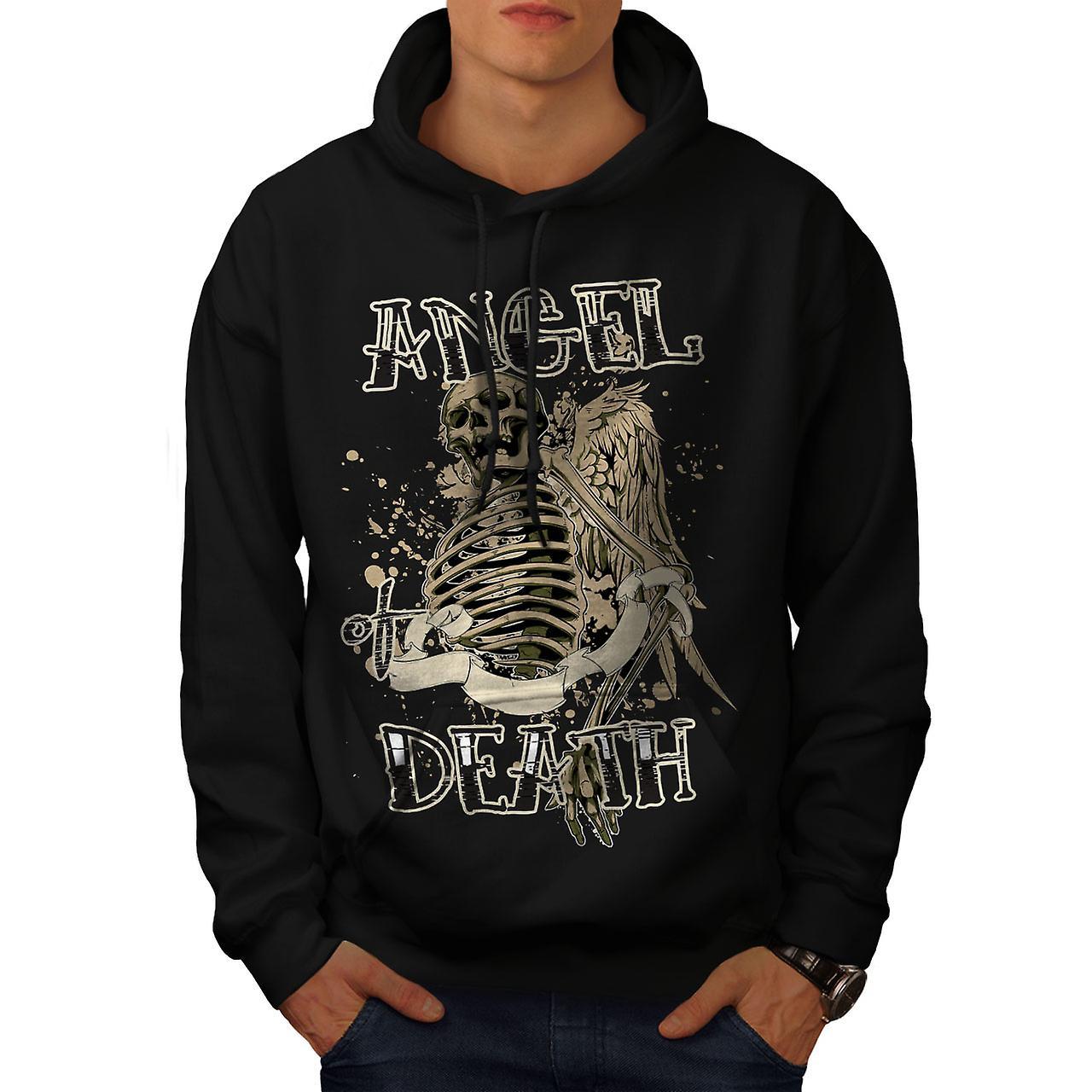 Angel Death Gothic Skull Men Black Hoodie | Wellcoda