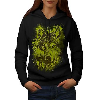 Wolf Splash Wild Animal Women BlackHoodie | Wellcoda