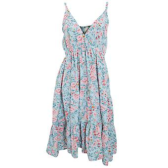 Womens/Ladies Pastel Rose Print Strappy Summer Dress