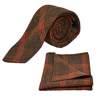 Biscuit Brown & Orange Birdseye Check Tie & Pocket Square Set