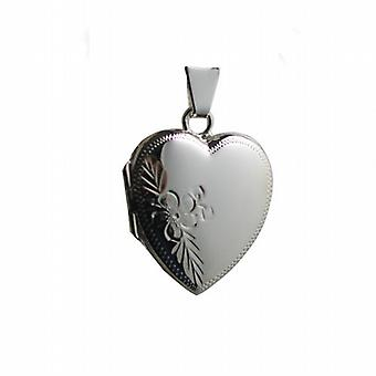 Silver 22x19mm hand engraved heart shaped Locket