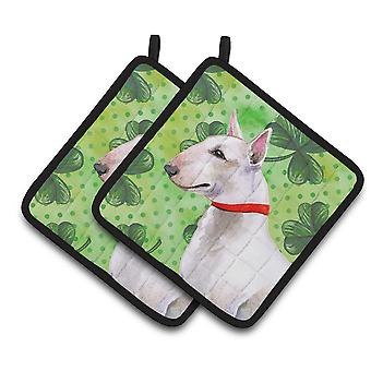 Carolines Treasures  BB9867PTHD Bull Terrier St Patrick's Pair of Pot Holders