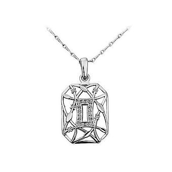 Stylish Silver Geometrical Themed Pendant Necklace With Encrusted Clear Crystal Stones