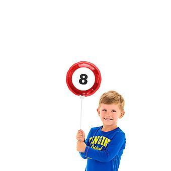 Folienballon mit Stab Geburtstag Verkehrsschild Zahl circa 23cm
