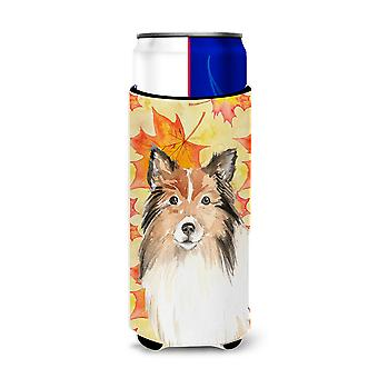 Fall Leaves Sheltie Michelob Ultra Hugger for slim cans