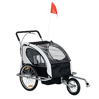 HOMCOM 2 in 1 Collapsible 2-Seater Kids Jogger Stroller and Bike Trailer with Pivot Wheel (Black and White)