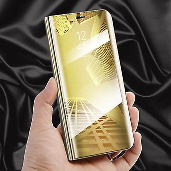 For Huawei P smart clear view mirror mirror smart cover gold protective case cover pouch bag case new case wake UP function