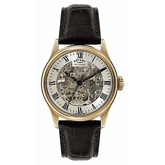 Rotary Mens Skeleton Automatic Rose Gold Brown Strap GS02942/01 Watch