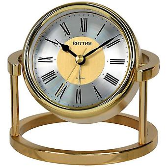 Rhythm 7958 table clock quartz golden without ticking with an alarm clock