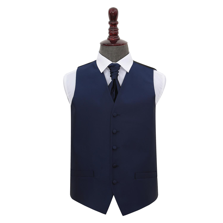 Navy Blue Solid Check Wedding Waistcoat & Cravat Set