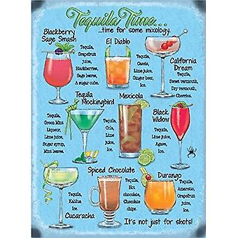 Tequila Time, Cocktail Recipes Small Steel Sign 200Mm X 150Mm