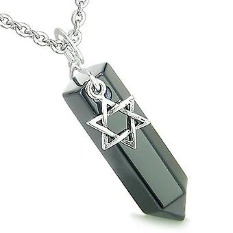 Amulet King of Solomon Star of David Crystal Point Magic Charm Onyx Spiritual Pendant Necklace