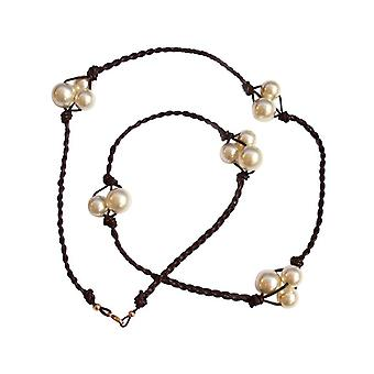 Gemshine - ladies - necklace - pearls - Tahitian - White - Leather - 925 Silver - 60 cm