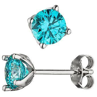 Orecchini 925 sterling silver 2 zirconi blu blu turchese orecchini