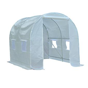 Outsunny Large Walk-in Patio Greenhouse Outdoor Poly Tunnel Garden Plants Grow Growing Tent Galvanized Steel Frame White (2.5L x 2W x 2H (m))