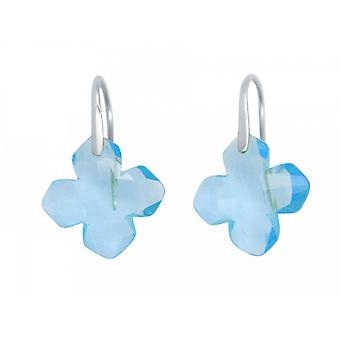 Ladies earrings 925 Silver Blue Topaz Blau GEM 2.5 cm