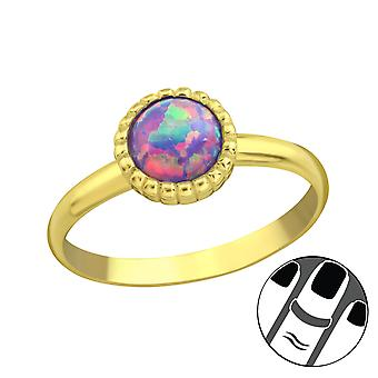 Round Synthetic Opal - 925 Sterling Silver Midi Rings - W23599x