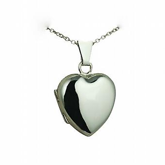 Silver 17x16mm plain heart shaped Locket with a rolo Chain 24 inches