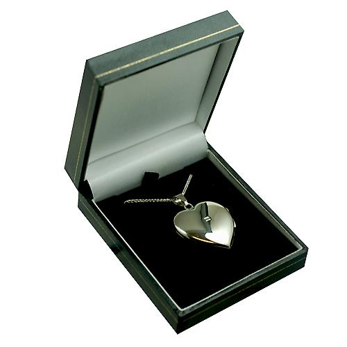 9ct White Gold 30x28mm plain heart shaped Locket with a spiga Chain 18 inches
