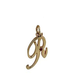 9ct Gold 26x14mm plain Ruby set Palace script Initial R Pendant