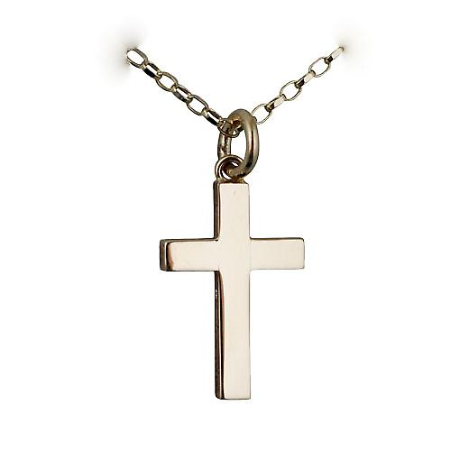 9ct Gold 20x12mm plain solid block Cross with a belcher Chain 16 inches Only Suitable for Children