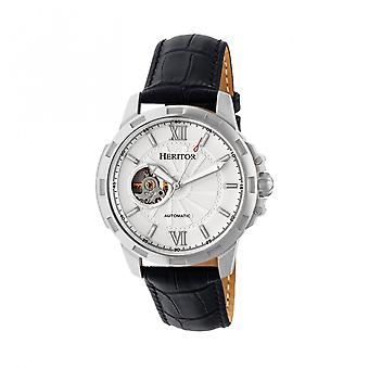 Heritor Automatic Bonavento Semi-Skeleton Leather-Band Watch - Silver