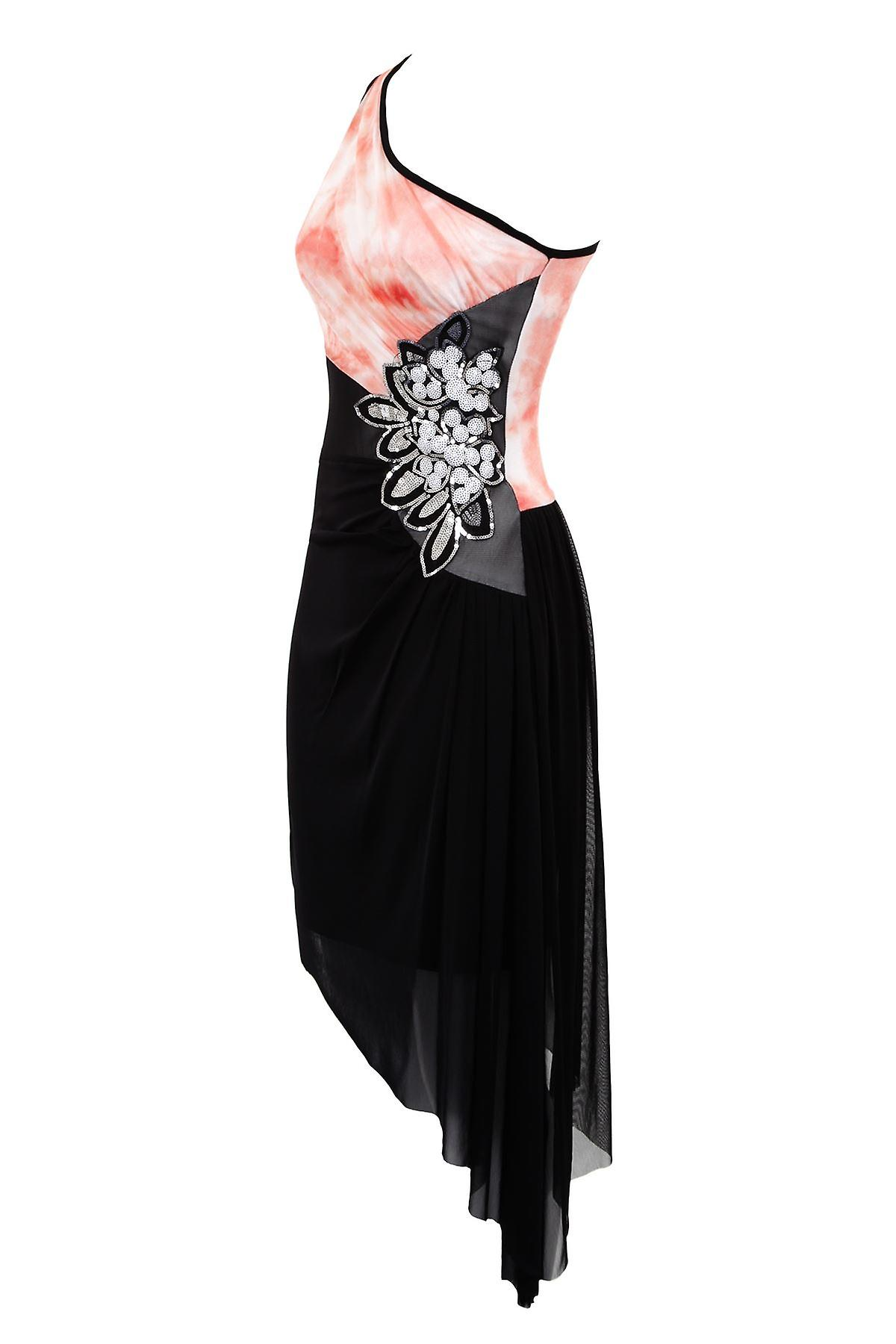 Ladies Sleeveless One Shoulder Lined Mesh Sequin Flower Women's Bodycon Dress