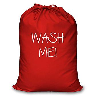 Red Laundry Bag Wash Me
