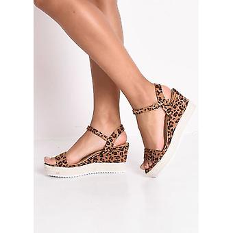 Leopard Print Plattform geflochten Kork Keil Schuhe Sandalen braun