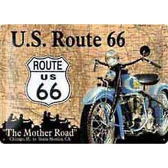 Route 66 Motorbike / Map embossed metal sign