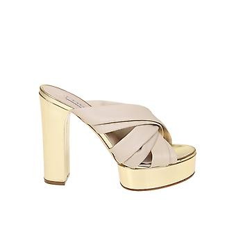 Casadei Gold Leather Slippers