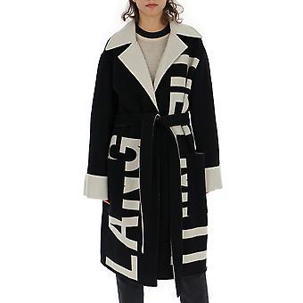 Helmut Lang White/black Wool Coat