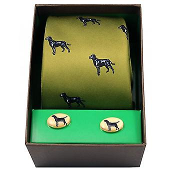 David Van Hagen Labradors Tie and Cufflink Set - Green/Black
