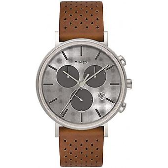 Timex TW2R79900D7 watch - shows THE chronograph. FAIRFIELD man steel case Brown leather