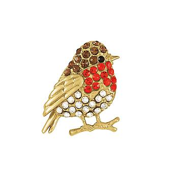 Eternal Collection Crystal Robin Multi Coloured Gold Tone Brooch