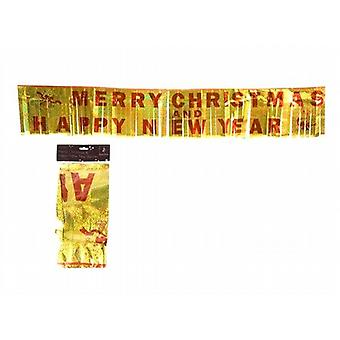 Merry Christmas and Happy New Year Foil Fringed Banner