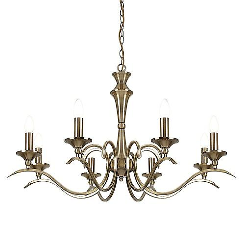 Endon KORA-8AB Kora Traditional Brass 8 Light Pendant Convertible To Flush