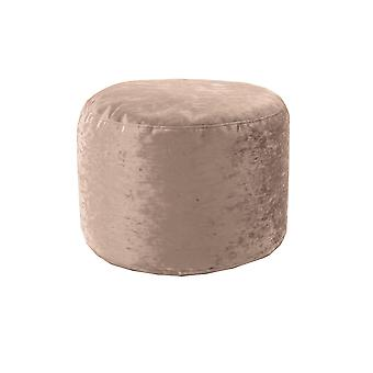 Truffle Round Bean Bag Footstool Pouffe Seat in Shiny Crushed Velvet Fabric