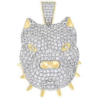 Premium Bling - 925 Sterling Silber 3D Bulldog Anhänger gold