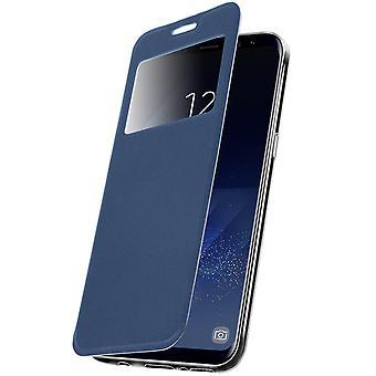 Vinduet flip sag, flip tegnebog sag med stativ til Samsung Galaxy S8 - blå