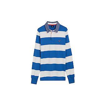 Gant Long Sleeved Contrast Barstripe Heavy Rugger Blue & White Stripe