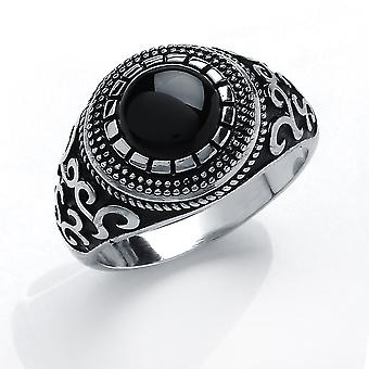 Jewelco London Men's Rhodium Plated Sterling Silver Black Round Onyx Carved Cabochon Aztec Signet Ring